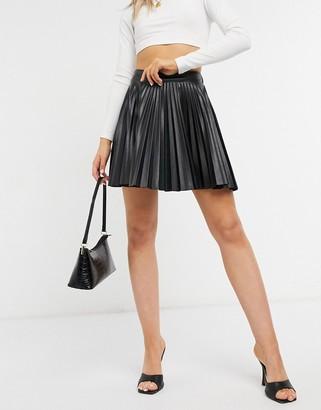 ASOS DESIGN leather look kilt in black