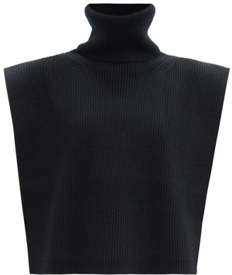 Totême Roll-neck Wool-blend Bib - Black