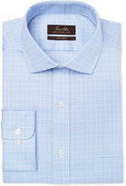 Tasso Elba Men's Mulberry Classic/Regular Fit Non-Iron Light Blue Check Dress Shirt, Created for Macy's
