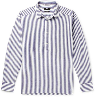 HUGO BOSS Striped Cotton And Linen-Blend Half-Placket Shirt