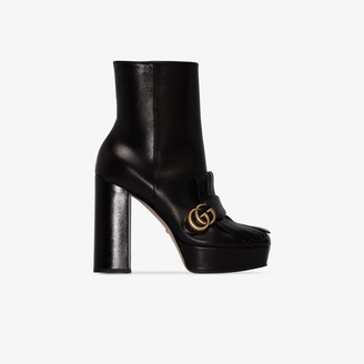 Gucci Black Marmont 115 Leather Ankle Boots