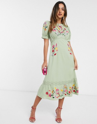 ASOS DESIGN embroidered midi tea dress in sage green