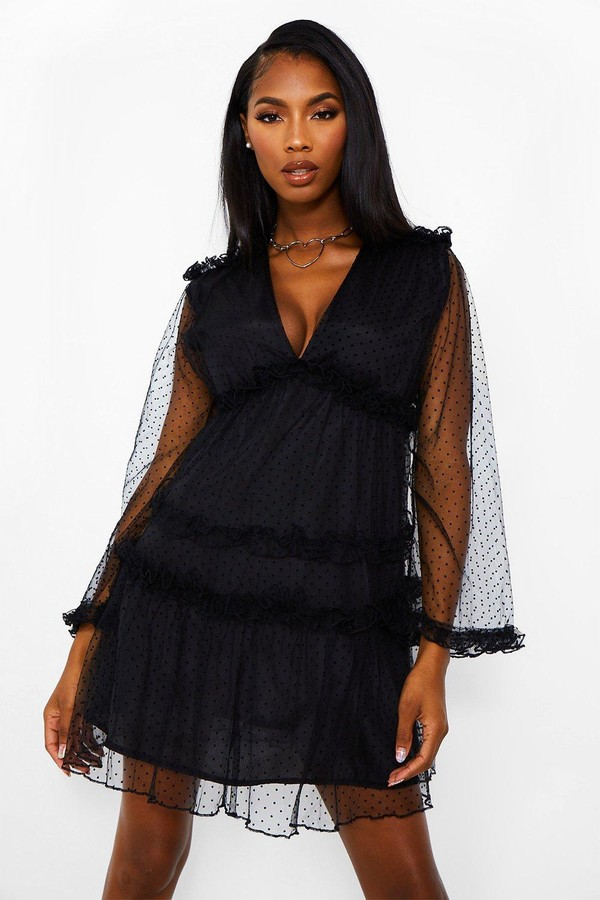 boohoo Dobby Frill Detail Tiered Swing Dress