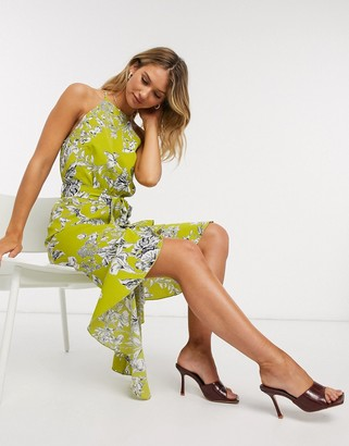 Forever U high neck ruffle midi dress in lime floral