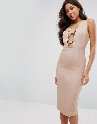 Misha Collection Pencil Dress With Lace Up Plunge-Tan
