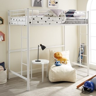 Manor Park Premium Traditional Twin Metal Loft Bed, Silver