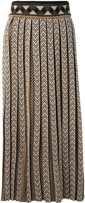 Mame Kurogouchi Chevron Pleated Midi Skirt