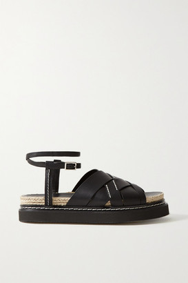 3.1 Phillip Lim Yasmine Leather Espadrille Sandals - Black