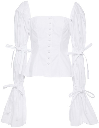 Sara Battaglia Bow-detailed Gathered Cotton-poplin Top