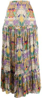 Chufy pleated patterned maxi skirt