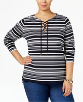 MICHAEL Michael Kors Size Ardenn Striped Lace-Up Top