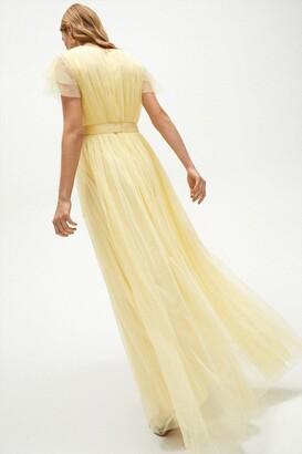 Coast Tulle V-Neck Tie Belt Maxi Dress