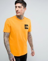 The North Face Fine T-shirt Square Logo In Orange