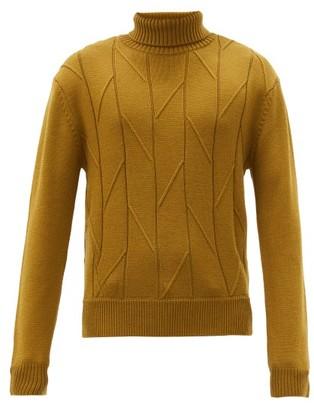 KING & TUCKFIELD Bias-stripe Roll-neck Merino-wool Sweater - Khaki