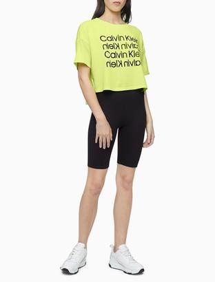 Calvin Klein Performance Repeating Logo Block Cropped T-Shirt