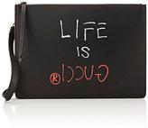 """Gucci Men's """"Life Is Crossbody Messenger Bag-BLACK"""