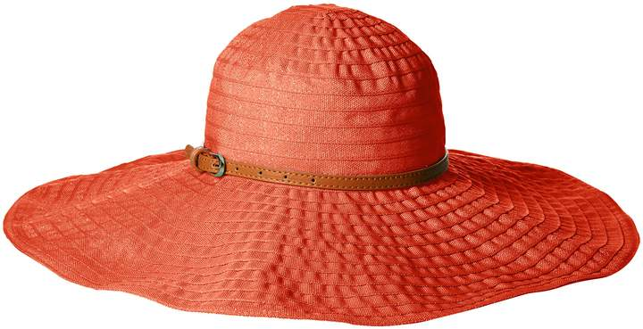 San Diego Hat Company Women's 6-Inch Brim Ribbon Sun Hat with Wired Sun Brim