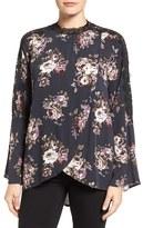 Bobeau Women's Lace Inset Floral Print Blouse