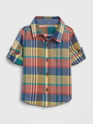 Gap babyGap Plaid Convertible Shirt