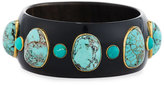 Ashley Pittman Michezo Turquoise-Studded Dark Horn Bangle