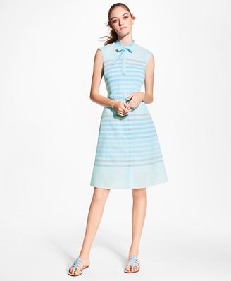 Brooks Brothers Striped Cotton Poplin Tie-Neck Shirt Dress