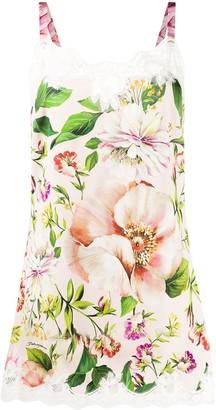 Dolce & Gabbana Lace Trim Floral Print Dress