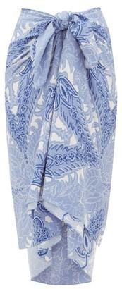 Etro Paisley-print Crepe Sarong - Blue Print