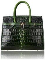 PIJUSHI Classic BK Style Embossed Crocodile Purse Genuine Leather Office Ladies Handbags Satchel Top-handle-bags