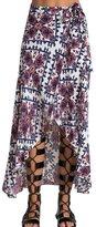 LETSQK Women's Asymmetrical Hi-low Printed Maxi Long A-line Maxi skirt L