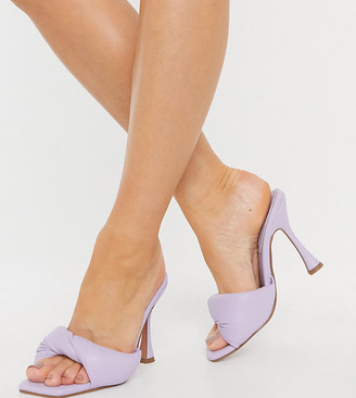 ASOS DESIGN Wide Fit Niki padded twist high heeled mules in lilac