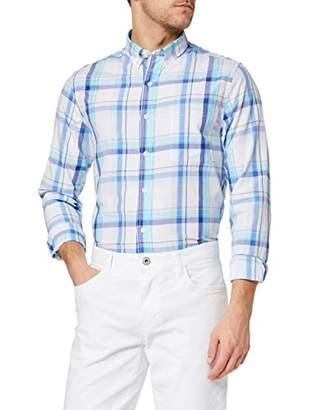 Izod Men's Breeze POPLIN Plaid BD Shirt Casual (Blue Radiance 477), L