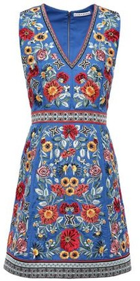 Alice + Olivia Patty Bead-embellished Embroidered Crepe Mini Dress
