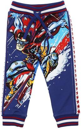 Dolce & Gabbana Super Hero Print Cotton Sweatpants