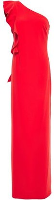 Halston One-shoulder Ruffle-trimmed Crepe Gown
