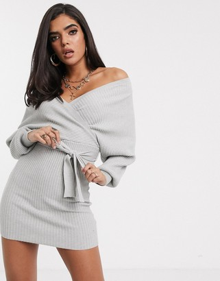 Parallel Lines knitted wrap mini dress with cut out back