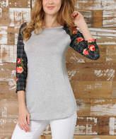 Celeste Heather Gray Plaid & Floral-Sleeve Raglan Top