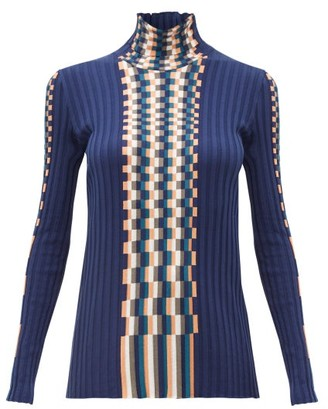 Loewe Graphic Jacquard-knit Cotton Sweater - Womens - Blue Multi