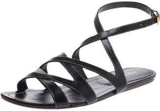 Prada Black Leather Strappy Ankle Strap Flat Sandals Size 37