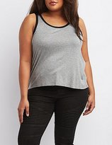 Charlotte Russe Plus Size Ringer Crop Top