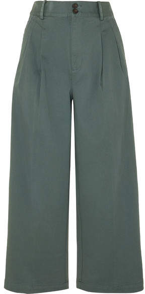 Madewell Pleated Cotton-blend Twill Wide-leg Pants - Green