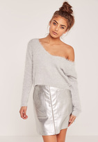 Missguided Fluffy Tab Back Cropped Sweater Grey