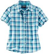 Osh Kosh Toddler Boy Short Sleeve Blue Plaid Poplin Button-Down Shirt