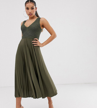 Asos DESIGN Petite lace top midi dress with pleated skirt