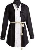 BLOUSE Sivian contrast-panel linen-blend shirtdress