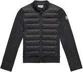 Moncler Maglia Knit Zip Cardigan w/ Down Front, Black, Size 8-14