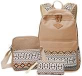 Morrivoe 3pcs Canvas Backpack 14 inch Laptop Bag Travel Backpack School Bag for Teenage Girls