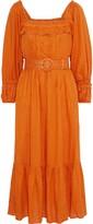 Nicholas Belted Pleated Gauze Midi Dress