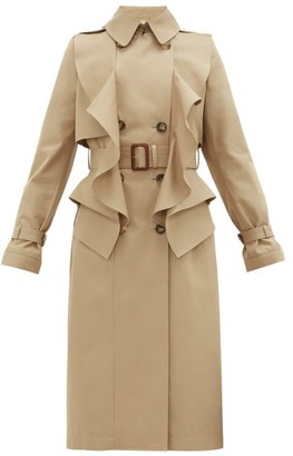 Alexander McQueen Double-breasted Ruffled Gabardine Trench Coat - Beige