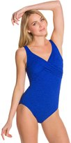 Penbrooke Krinkle Cross Over Chlorine Resistant One Piece Swimsuit 46829