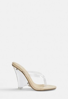 Missguided Nude Sole Toe Post Clear Wedges